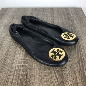 Tory Burch Minnie Travel Flats Black Leather Gold